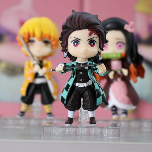 Anime Figure Toys Demon Slayer Q Version Tanjiro Nezuko Zenitsu Moedel Articulated Movable Joints Ornaments Doll Teenagers Gift