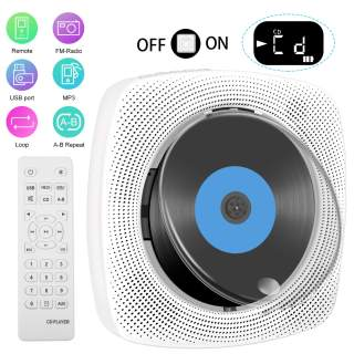 Letaocity Portable CD Player with Bluetooth, Wall Mountable CD Music Player with Dust Cover Home Audio Boombox with Remote Control FM Radio Built-in HiFi Speakers, MP3 Headphone Jack AUX Input Output