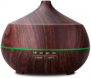 Tenswall 400ml Wood Grain Essential Oil Diffusers Ultrasonic Humidifier Portable Aromatherapy Diffuser with Cool Mist & 7 Colour Changing LED Lights, Waterless Auto off Air Purifiers (Brown)