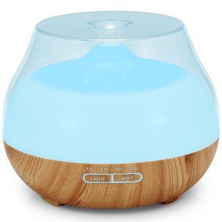 TENSWALL Aroma Diffuser 400ML Essential oil Diffuser Electric Ultrasonic Humidifier Cool Mist Humidifier with 4 Timer Settings, 7 Color Changing LED Lights, Waterless Auto off Air Purifier
