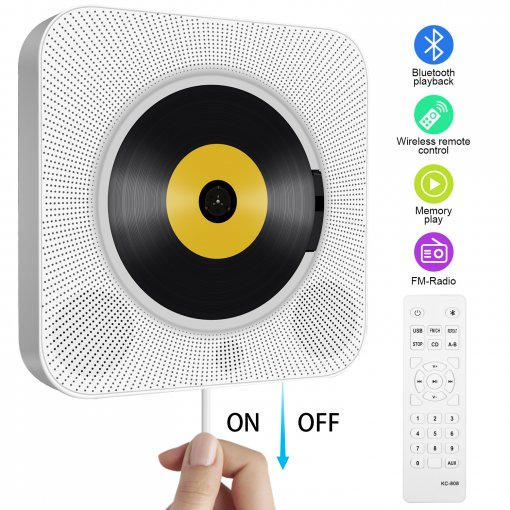 Portable CD Player, Tenswall Wall Mountable Bluetooth Built-in HiFi Speakers, Home Audio Boombox with Remote Control FM Radio USB MP3 3.5mm Headphone Jack AUX Input/Output With Pulling-Switch