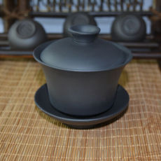 Pure Black Yixing Gaiwan Zisha Clay Chinese Handmade Gongfu Tea Tureen 100ml