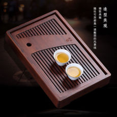 Brown Slatted Heavy Bamboo Chinese Gongfu Tea Ceremony Serving Tray 35x22x4.6cm