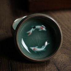 Chinese Longquan Celadon Cup Porcelain Golden Fish 60ml Celadon Crackle Teacup