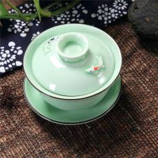 Longquan Celadon Gaiwan Gongfu Tea Set 3D Fish Gaiwan Set Tureen Cup 150ml