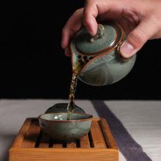 China Longquan Celadon Portable Kung Fu Tea Set A Pot and Two Tea Cup Teacup