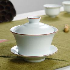 Browm Rim White Ceramic Gaiwan Gongfu Tea Brewing Teacup with Lid 150ml