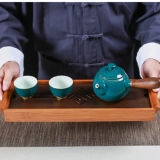 Black Tabletop Chinese Gongfu Tea Serving Bamboo Table Water Drip Tray 39*13cm