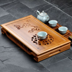 Blooming and Riches * Bamboo Tea Serving Tray Table Gongfu Tea Tray 49*29*7