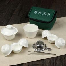 11 Pcs Travel Tea Sets Chinese Portable Ceramic Bone China Gaiwan Teacup Kung Fu
