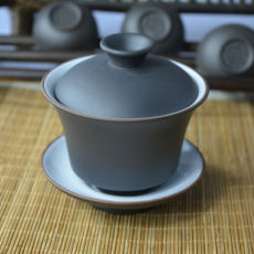 Yixing Purple Clay Porcelain Gaiwan Tea Cup Zisha Gongfu Tea Bowl 110ml