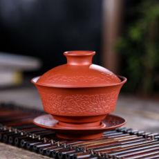 Handmade Yixing Zisha Clay Red Zisha Gaiwan Teacup with Saucer Kung Fu Tea 110ml