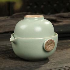 Xiang Long * Ru Kiln Celadon Kung Fu Tea Cup & Teapot Set Ruyao Tea 1 Pot 1 Cup