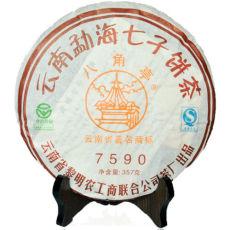 2007 Year Li Ming 7590 Octagonal Pavilion Yunnan Aged Pu-erh Tea Cake 357g Ripe