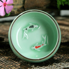 Longquan Celadon Handpainted Ceramic Kungfu Teacup Tea Cup Double Fish 30ml