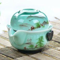 Longquan Celadon Gaiwan Handpainted Kung Fu Tea Set Include 1 Pot 1 Cup