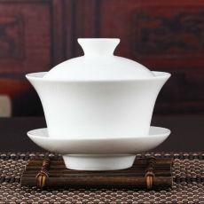 Chinese Gaiwan Tea Set Kung Fu White Ceramic Gaiwan Teaware Sancai Tea Cup