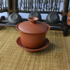 Red Pure Kung Fu Tea Zisha Gaiwan Porcelain Tea Cup Set And Saucer 100ml