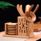 Bamboo Tea Set Kungfu Tea Accessories - Strainer Tongs Spoon Tea Tray Set Holder
