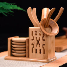 Bamboo Tea Set Kungfu Tea Accessories - Strainer Tongs Spoon Tea Tray Set Holder