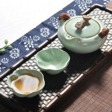 1 Pot 2 Cup Smoothness Ru Kiln Porcelain Tea Sets Celadon Teapot Travel Quik Cup