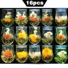 16pcs Different Kinds Blooming Flower Tea Handmade Artistic Blossom Flower Tea