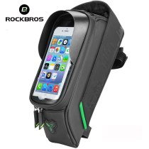 ROCKBROS 029-1BK Bicycle Front Tube Bags 5.8/6 Inch Phones TPU Touch Screen Waterproof Frame Panniers For Road Cycling Accessories