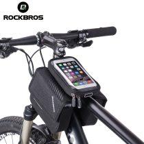 ROCKBROS.[030-60BK]. Cycling 6.0'' Bike Frame Bag Bicycle Top Tube Pouch Bag Touch Screen Waterproof Phone Holder Big Capacity Frame Bag