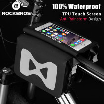 ROCKBROS.[AS-042] Bike Bag Moible Phone Case Pannier Saddle Bag Cycling 100% Waterproof Front Tube Bag For 6.2 Inch Bicycle Accessories