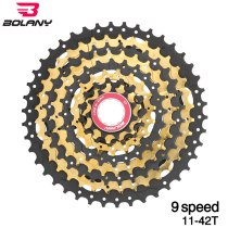 Bolany  Bike Cassettes Bicycle Gold Freewheel MTB Sprocket Cdg Cog 42T 9S 27s For Accessories Parts