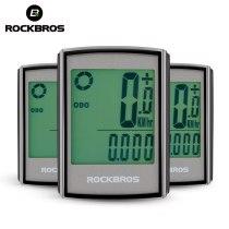 ROCKBROS Waterproof Bicycle Computer LCD Backlight Stopwatch Wireless Cycling Bike Computer Speedometer Odometer MTB Accessories