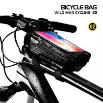 WILD MAN Bicycle Bag Waterproof Press Screen Mobile Phone Bag Cycling Front Top Tube Frame Bag Cellphone Bag Bike Accessory(Blac