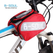 B-SOUL Waterproof Touch Screen Cycling Bike Bicycle Front Bag Top Tube Frame Bag Pannier Double Pouch for 5.5  inch Phone