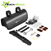 ROCKBROS GJ9814 Portable Multi-function Bike Tools Cycling Bike Tyre Repair Kit Bicycle Tools Bag Bike Repair Set Easy To Carry Black