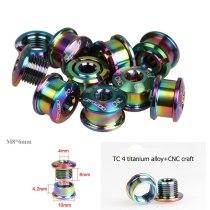 GUB 5pcs Titanium TC4 M8x6 MTB Road Bike Single Ring Bolt Crank Arm Disc Extended Screw CNC Crankset Chain Wheel Screw
