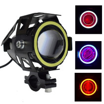 1PCS 125W U7 Motorcycle Angel Eyes Devil Eye Headlight DRL Spotlight LED Driving Lamp Motorbike Fog Light Universal Switch