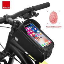 Sahoo 122053 Cycling Bicycle Waterproof Touchscreen Front Frame Top Tube Bike 6.5in Cell Mobile Phone Bag Pannier Pack Holder