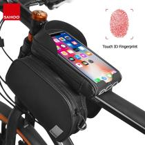 Sahoo Travel 122056 Touchscreen Bicycle Bike 6.5in Cell Mobile Phone Bag Front Frame Top Tube Cycling Pouch Double Pannier Pack