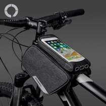 Touchscreen Water Resistant Cycling Bike Bicycle Front Frame Top Tube Double Bag Pannier with 5.7inch Mobile Cell Phone Case