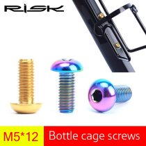 RISK 2pcs M5*12mm Titanium Ti Bicycle Bottle Holder Bolts Cycling Bike Water Bottle Cage Screw for MTB Mountain Road Bike M5x12