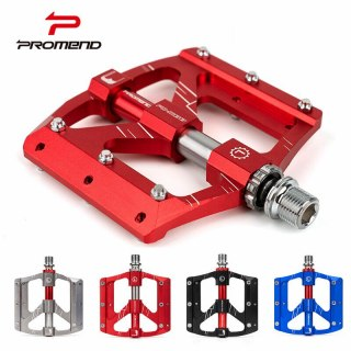 2020 PROMEND Flat Bicycle Pedal Aluminium Alloy CNC Mountain Road Bike Pedals DU 3 Bearing Wide Non-slip Off-Road Cycling Pedals