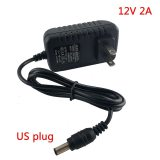 AC DC 12v 2A 2000ma adapter power supply adaptor EU UK AU US PLUG 5.5*2.5mm wall charger for DC male female led strip light lamp