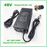 48V Li-ion Battery Charger Output 54.6V 3A for 48V Electric Bike Lithium Battery Pack  3 Pin Female Connector GX16 XLR 3 Socket