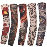 1Pcs New Flower Arm Tattoo Sleeves Seamless Outdoor Riding Sunscreen Arm Sleeves Sun Uv Protection Arm Warmers For Men Women