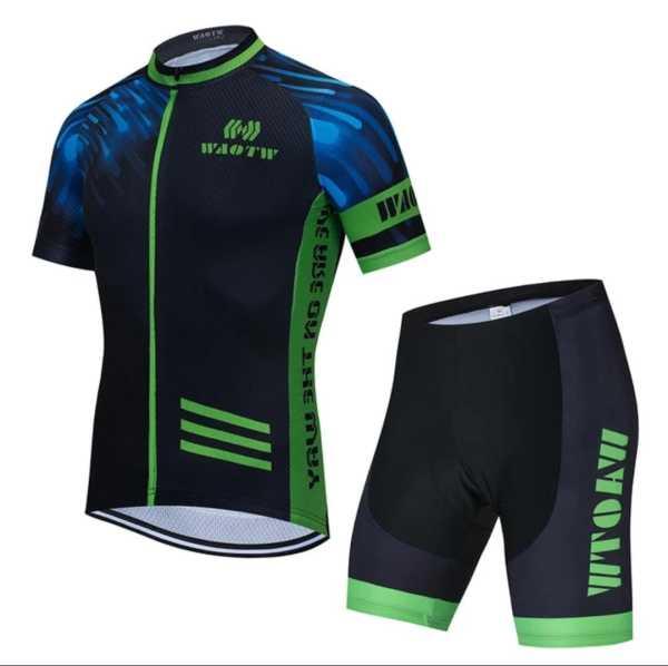 WAOTW  Ropa Ciclismo Cycling Jersey Gel Pad Bib Short Set MTB Bike Bicycle Clothing Sets Blue-Green-black