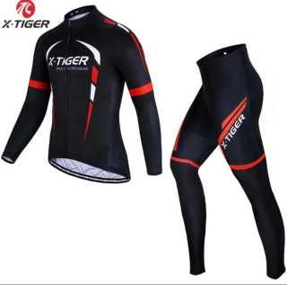 Cycling Jersey Gel Pad Bib RedLong sleeve suit MTB Bike Bicycle Clothing Sets