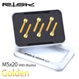 RISK Cycling Bolts with Gasket Gold Blac 6pcs M5*18 M5*20 Stem Fixing Bolts With Washer Titanium Alloy Fixed Screw for Bike Stem
