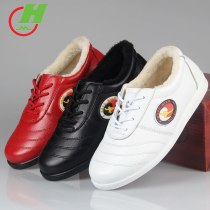 winter Cowhide Leather  Tai Chi Shoes Martial Art Performance warm Shoes Taiji Boxing Practice Shoes Free Flexible