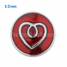 12mm Loveheart snaps Silver Plated with red Enamel KS5042-S snap jewelry