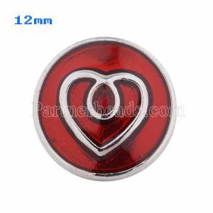 12mm Loveheart se ajusta plateado con esmalte rojo KS5042-S joyería rápida